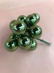 BOULES - BOUQUET DE 12 MINI-BOULES PINE GREEN/BRILLANT D.2,5CM SUR PIC