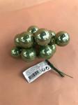 BOULES - BOUQUET DE 12 MINI-BOULES SAGE GREEN/BRILLANT D.2,5CM SUR PIC