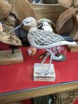 BIRD ON STAND WOOD 27X23X28CM