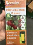PIEGE PLAQUE GLU JAUNE CONTRE LES MOUCHES ARBRES FRUITIERS ET PUCERONS