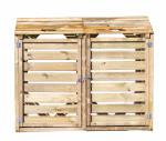 Cache poubelle bois autoclavé double 150 x 90 x 120 cm