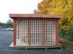 Auvent OMBRA toit plat couverture bac acier + treillage bois sur 1 côté / 3.54 x3.54 m