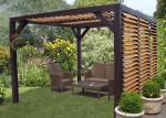 Auvent VENETO bois avec ventelles réglables toit et mur / 3,48 m x 3,60 m