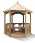 Pavillon hexagonal élégant bois massif toiture bois / surface au sol : 4,74 m2