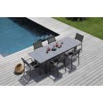 1 ensemble table Tahaa et 6 fauteuils Duca gris